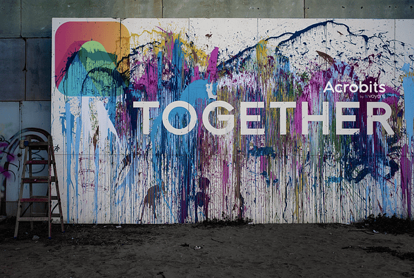 together painted on wall - video conference with Acrobits together