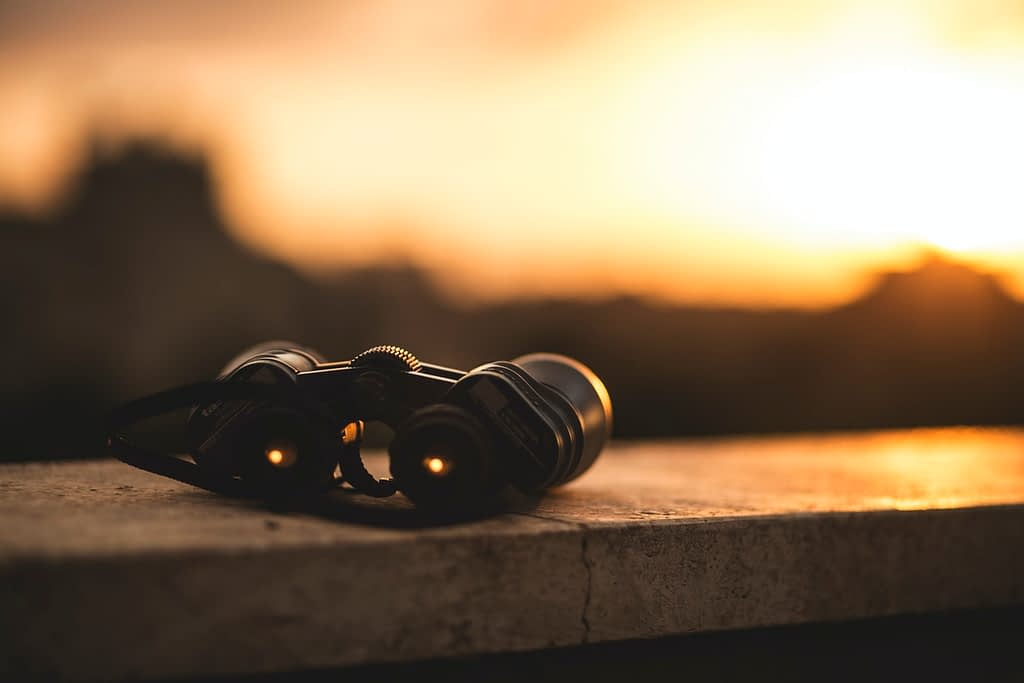 Binoculars on the sunset